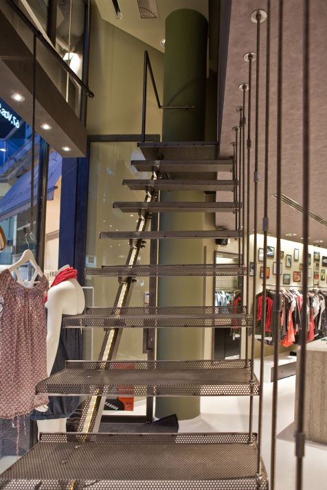 Steel Stairs designed for Badila Retail Store, by AkPraxis. To see the whole project visit http://www.akpraxis.gr/portfolio/badila-maroussi/