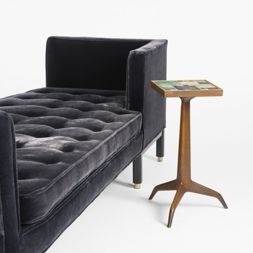 Edward Wormley  Tête-a-Tête, model 5944        DunbarUSA, c. 1959 velvet, mahogany, brass 81 w x 28 d x 27 h inches Signed with fabric manufacturer's label to cushion: [Dunbar Furniture Corporation Berne, Indiana]. s9