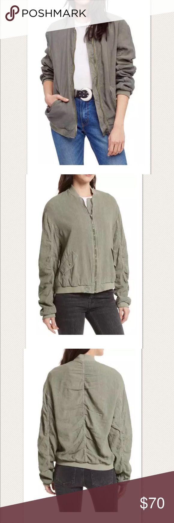 "$128 NWT Free People Ruched Linen Bomber Jacket New with tags. Retails for $128 + Tax  From Nordstrom: Over sized  Cut from a lightweight blend of linen and rayon, this breezy bomber jacket has a whimsical vibe with its gracefully shirred detail in back. Worn in look Front zip closure Long sleeves Front button-flap patch pockets Lined 56% linen, 44% rayon Size XS  Measures approximately: total length 25"" bust across 23""  High end department store shelf pull-May have had customer contact…"