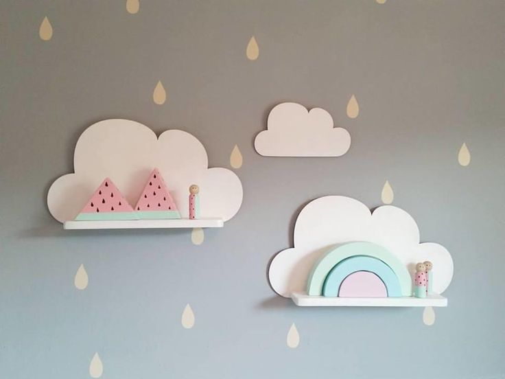 Set of 2 cloud shelfies are a great addition to the nursery and kid's room. Each set includes 2 shelfies, wall hooks and one hanging cloud. Cloud shape is made of plywood, shelf of pine wood.Dimensions:cloud shape: 38cm x 21cmshelf: 29,5cm x 8cmThey are painted to the order. Please choose your colours and leave a note.Colours: white, black, plain wood, baby pink, pink, mint green, blue, light grey, dark grey, dark blue, peach, yellow.Turnround is 5 working days.