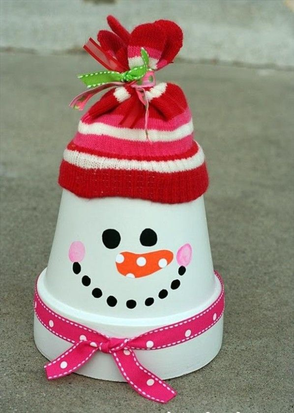 creative christmas crafts ideas flower pot transormed into a snowman