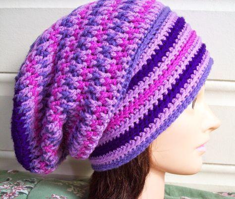Unisex, Teaser Slouch, Free Crochet Hat Pattern by Cathy Wood. Dk yarn, 4mm hook.
