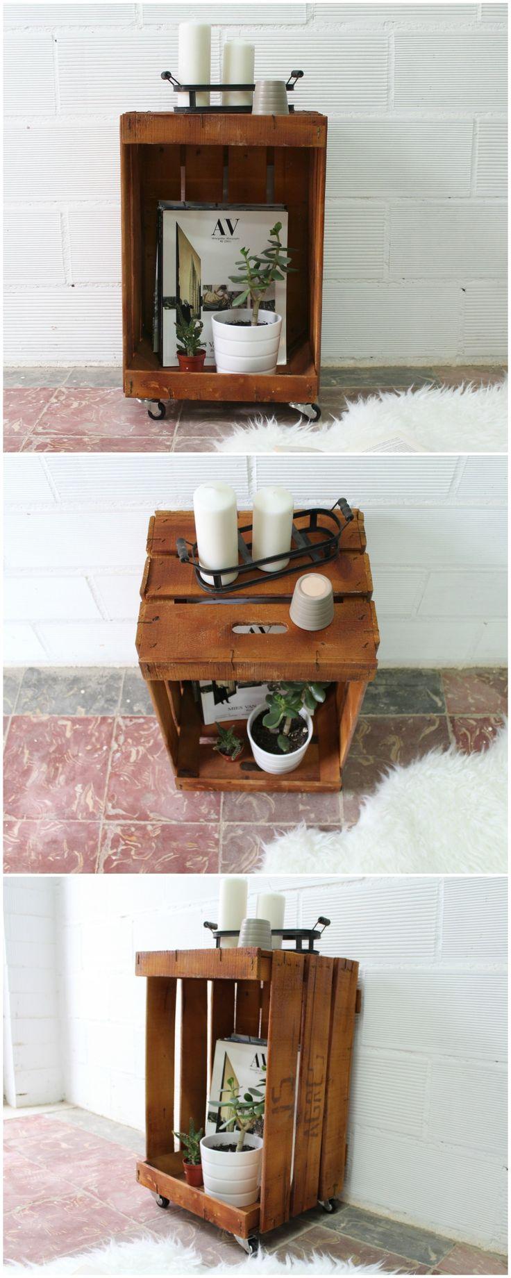revistero con caja de fruta caja de fruta antigua mesa con caja de madera