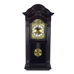 Bedford Clock Collection 25.5 Antique Mahogany Cherry Oak Chiming Wall Clock with Roman Numerals L572-MEGA-BED-9018