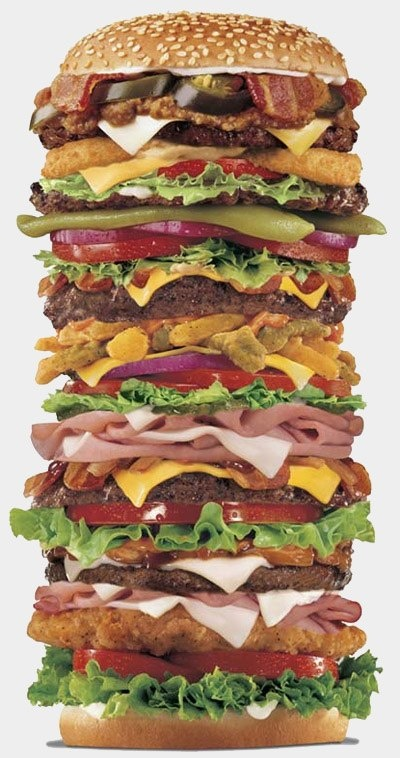 """Now that's a sandwich.   :-); looks like hamburger, chicken patty, beef, ham, bacon, cheese, etc with """"the works""""..."""