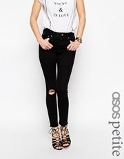 ASOS PETITE Ridley High Waist Ultra Skinny Ankle Grazer Jeans In Washed Black With Shredded Knee