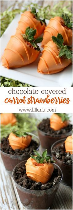 Carrot Strawberry Pudding Cups - cute and perfect for Easter! { http://lilluna.com } The recipes is super simple! Chocolate pudding with crushed oreos and an orange chocolate covered strawberry to look like a carrot!
