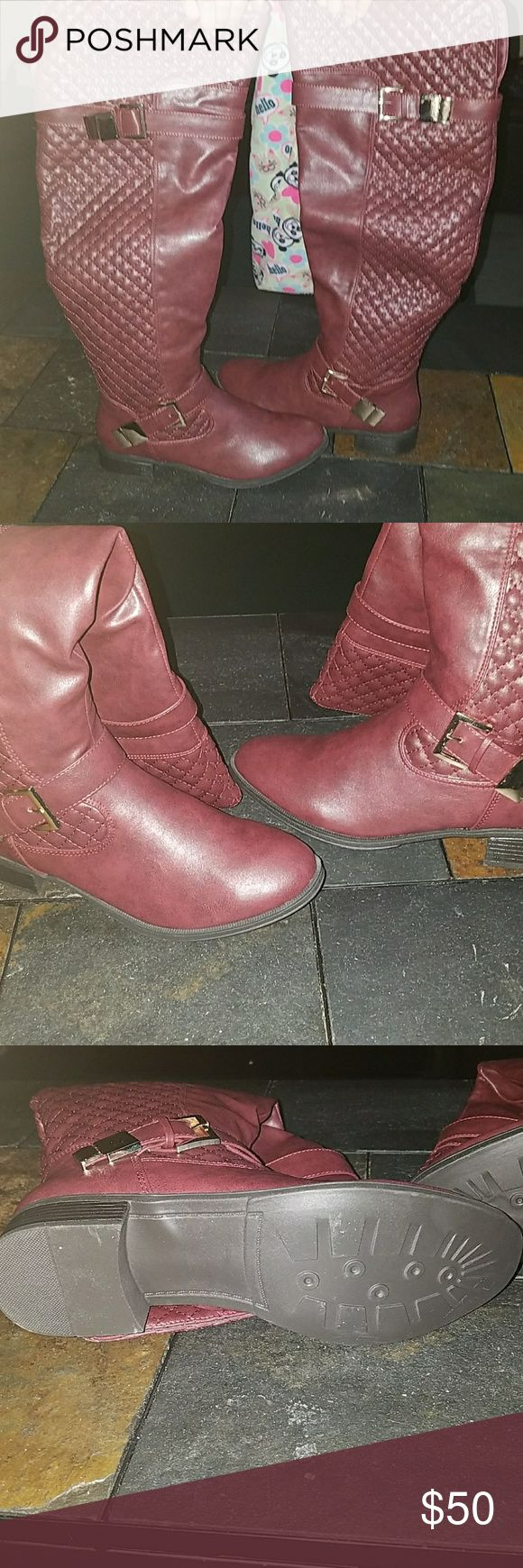 Over the knee knee high boots 8 w Shoe dazzle rafaella wide over the knee tall boots wine size 8 w. Brand new in box, smoke free home Shoe Dazzle Shoes Over the Knee Boots
