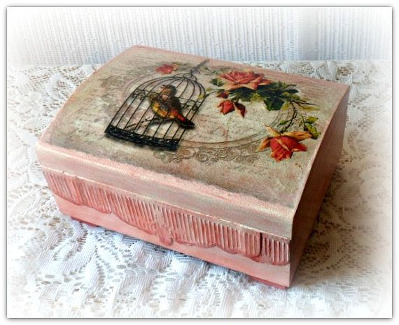 Decoupage wooden box  wedding box  jewelry box by CarmenHandCrafts, €29.00
