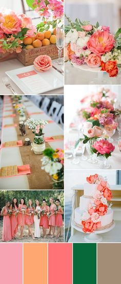 coral wedding color ideas and bridesmaid dresses trends for wedding 2015