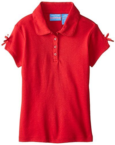 Nautica Little Girls' Uniform Short Sleeve Interlock Polo with Bow Red Large