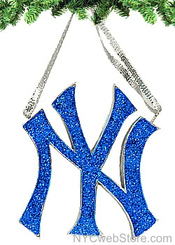 New York Yankees Logo Ornament  The perfect gift for your #1 fan, our New York Yankees Logo Ornament makes a great addition to the tree. Featuring the iconic logo in silver and blue glitter.    From the Kurt Adler,  , collection, NYCwebStore.com is proud to offer you these polyresin Officially Licensed New York Yankees Christmas Ornaments.  http://www.nycwebstore.com/detail.aspx?PRODUCT_ID=KA-MB2121YNK