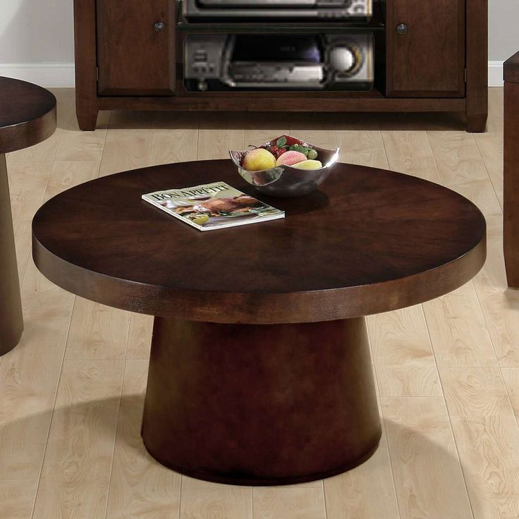 Small Dark Wood Round Coffee Table