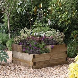 This Forest Garden Caledonian Tiered Wooden Raised Bed Planter is a quick and simple way to make a real feature of an unloved corner in the garden.