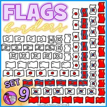 Flag Borders Clipart Doodle Style (China, Japan, North Korea, South Korea)