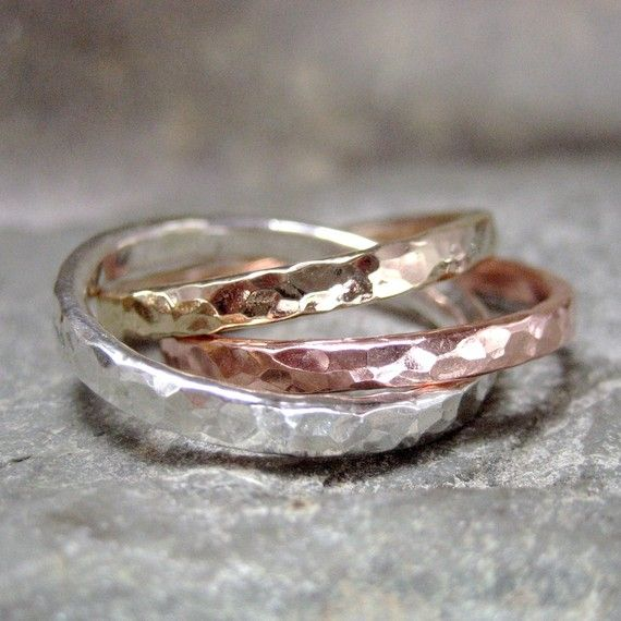 Intertwined Rolling Rings - Sterling Silver Copper and 14K Yellow Gold Filled  - Tri Color Band - Wedding Band - Best Friends via Etsy