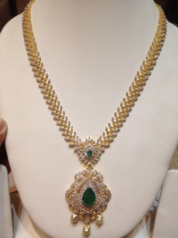 Diamond haaram with detachable locket and changeable stones..!!