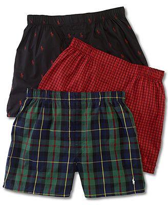 Polo Ralph Lauren Men's Underwear, Assorted Woven Boxer 3 Pack size  30-34