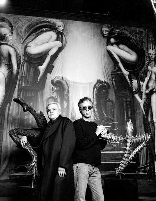 H.R.Giger and Peter Gatien supervising the installation of the V.I.P. Room at the Limelight NYC.
