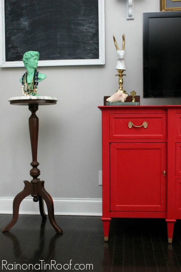 DIY::Country Farmhouse Basic No Cost Two Step  Beautiful Red   Buffet Makeover !