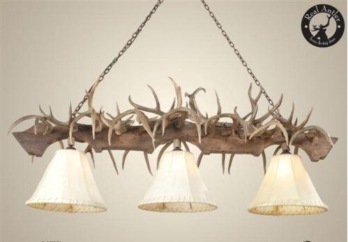 deer antler decorating ideas | Coues Deer Antler Pool Table Chandelier