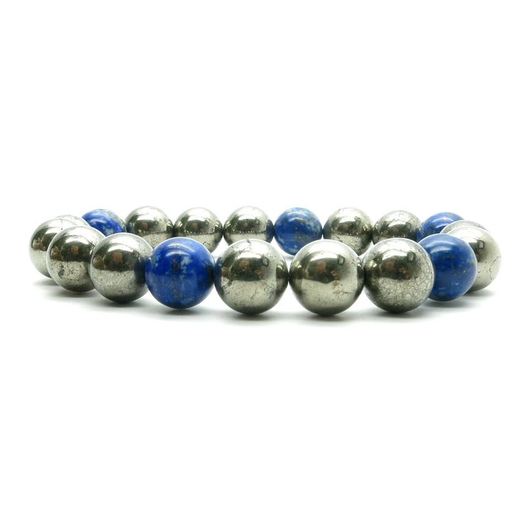 Pyrite Bracelet 13 - Lapis Blue Gold 9mm Round Stretch