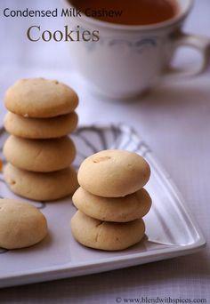 Condensed Milk Cashew Cookies Recipe - Easy Christmas Cookies Recipes | Indian Cuisine