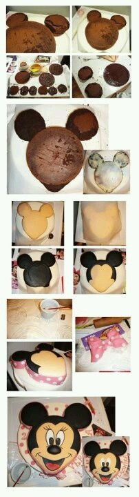 How to make a Mickey cake without a Mickey shaped pan.  Love this!  Must do!
