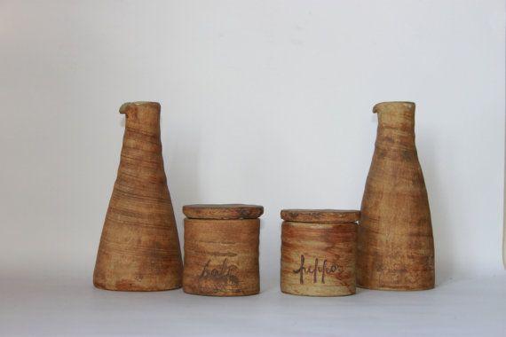 Rustic French country farmhouse condiment set salt pepper oil vinegar vintage pottery tableware