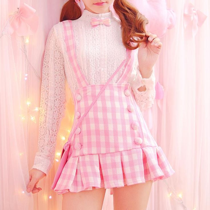 Japanese kawaii pink braces skirt+lace blouse two-piece SE10594