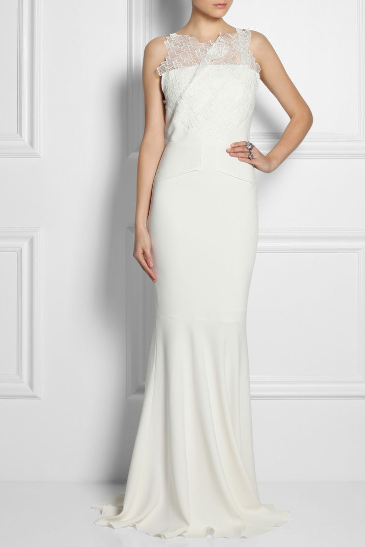 Roland mouret mirah lace and stretch crepe fishtail gown for Net a porter