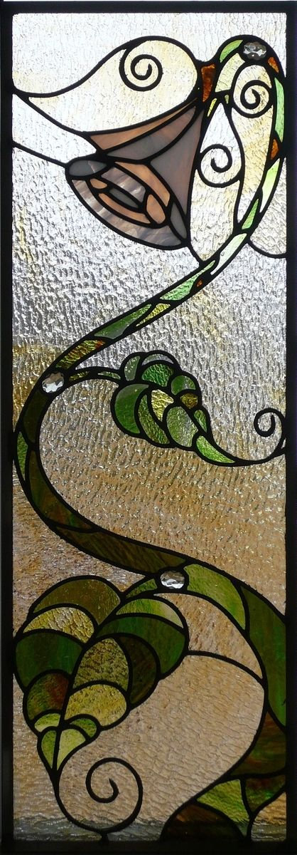 Leaded Glass Panels - This looks like it needs a fairy landing on the plant