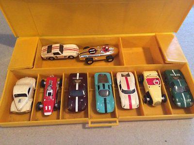 HO-Scale-Aurora-T-jet-Slot-Cars-Yellow-Case