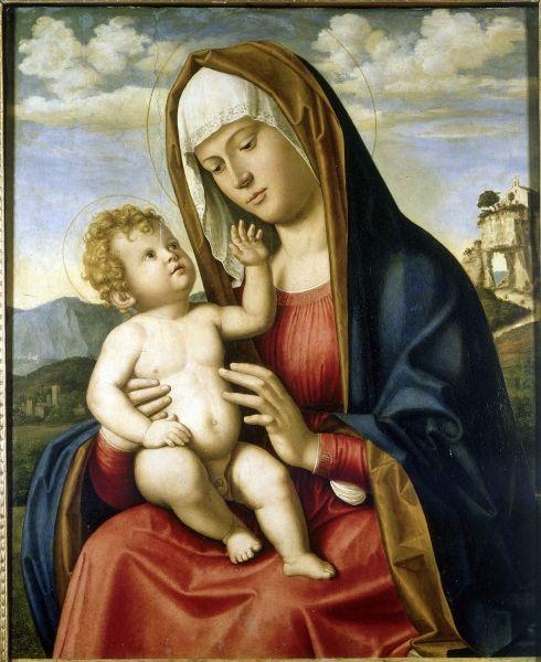 Giovanni-Batista Cima da Conegliano. Vierge à l'Enfant. Vers 1497. Huile sur bois. H. 71,5 ; l. 55 cm.