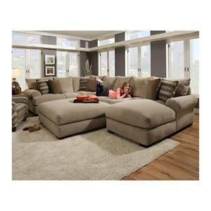 3-Piece Sectional Sofa and Ottoman in Bacarat Taupe | Nebraska Furniture Mart
