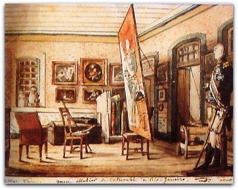 Meu ateliê do Catumbi no Rio de Janeiro, 1816. Jean-Baptiste Debret  Museu do Açude - Rio de Janeiro  http://sergiozeiger.tumblr.com/post/110826768788/historia-politica-brasileira-1808-e-1822  A Missão Artistica Francesa- que desembarcou, em 1816, no Rio de Janeiro - trouxe na sua bagagem, aquilo que pode transportar, do aparato da construção conceitual e visual que s seus integrantes haviam experimentado na sustentação do Imperador Napoleão Bonaparte I.