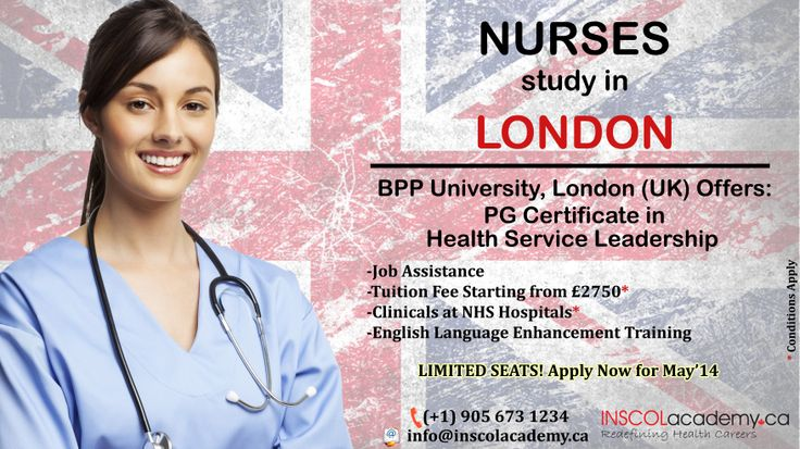 #Nurses study PG Certificate in Health Service Leadership at BPP University, #London (UK). -Job Assistance -Tuition Fee Starting from £2750* -Clinicals at NHS Hospitals* -English Language Enhancement Training Contact Us at: +1-905-673-1234 E-mail Us at: info@inscolacademy.ca  *Conditions Apply   #nursinguk #nursingcourses #Inscolnursing