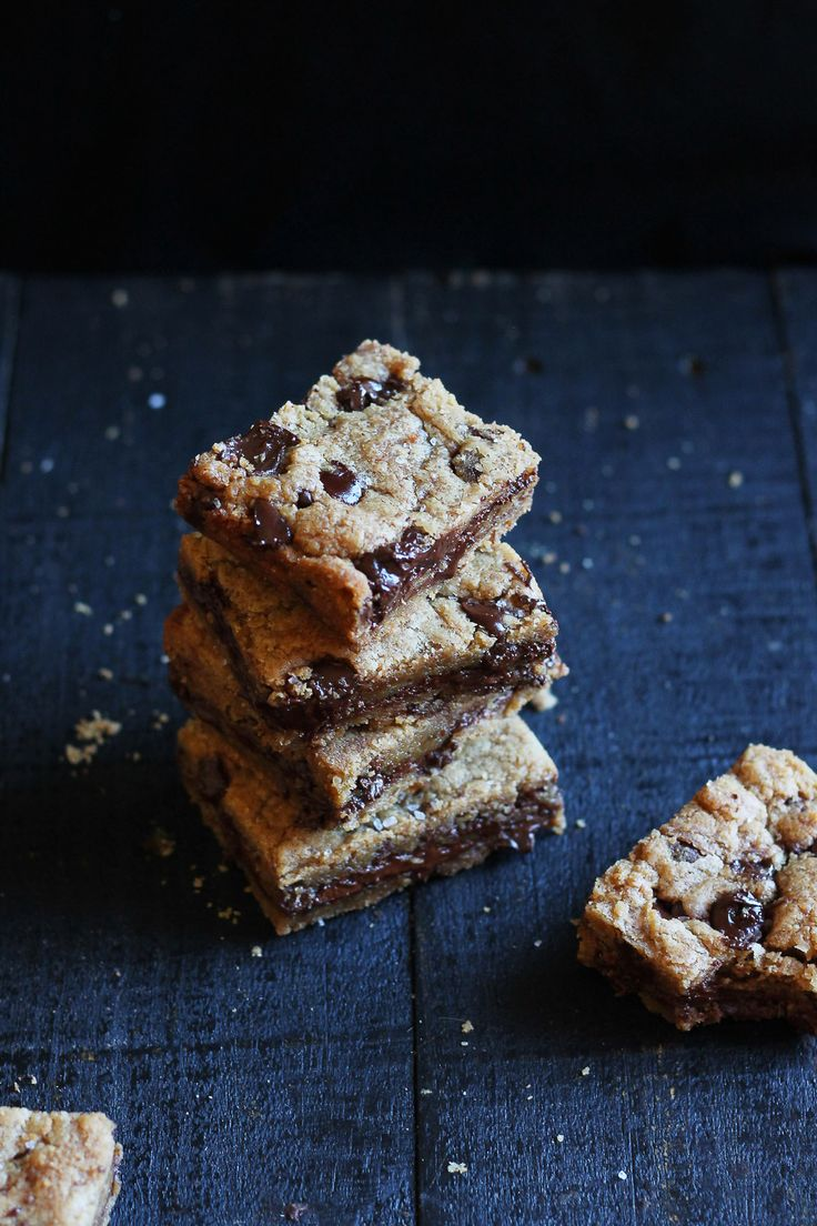 Amazing rich and indulgent brown butter blondies stuffed with nutella and sprinkled with sea salt. A recipe based off a most famous, life-changing cookie. | ambitiouskitchen.com