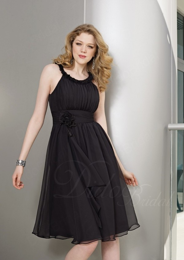A-line Tea-length Sccop Black Chiffon Bridesmaid Dress with Ruffle and Rosette