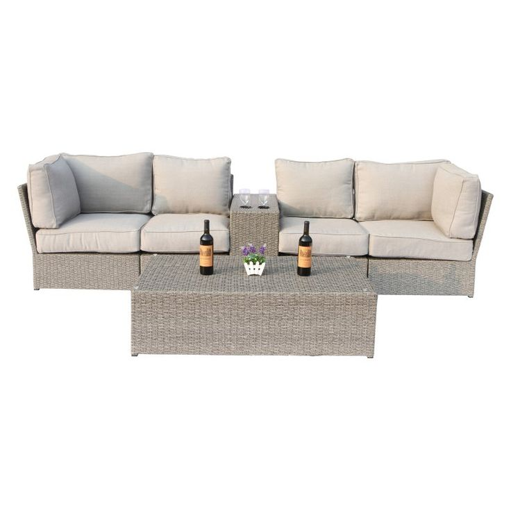 Outdoor Century Modern Chelsea 6 Piece All-Weather Wicker Cup Table Love Seat Set - CM-4207