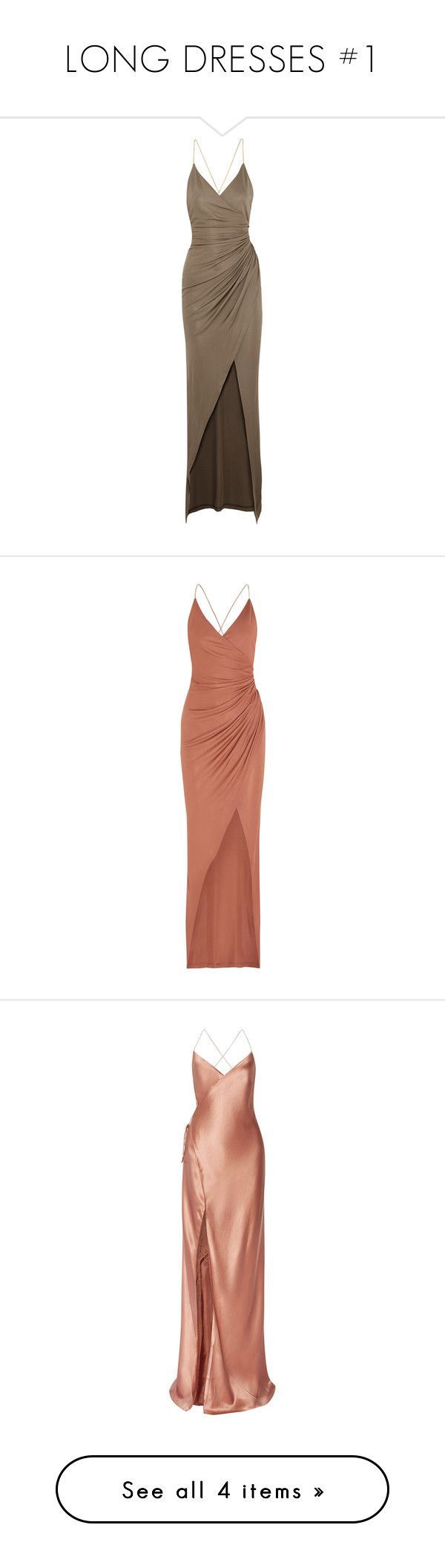 """LONG DRESSES #1"" by herllequin ❤ liked on Polyvore featuring dresses, gowns, long dress, vestidos, balmain, mushroom, maxi dresses, long dresses, brown maxi dress and wet look dress"