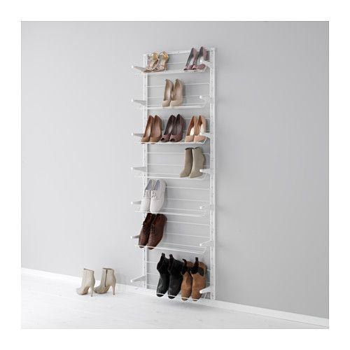 "ALGOT Wall upright/shoe organizer  - IKEA -  Width: 26 "" Depth: 7 7/8 "" Height: 77 1/8 ""  hmm, I don't need it that high, but I like the depth."