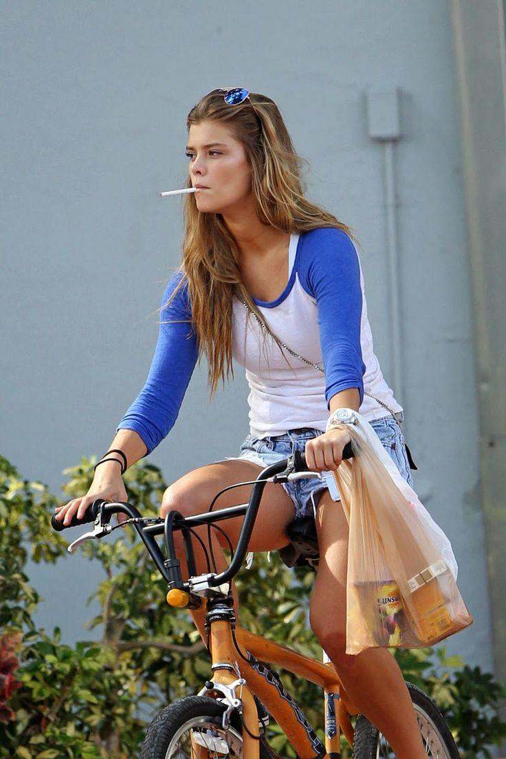 Nina Agdal Pantie Upshorts on her Bike Ride