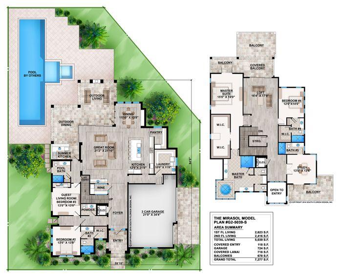 plan #429042 - 4 bedroom, 5 bath, 3 car garage contemporary house