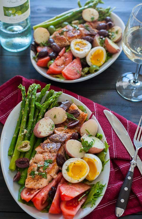 Seared salmon salad nicoise. Springtime recipe that is tasty and the vinaigrette rocks.   joeshealthymeals.com