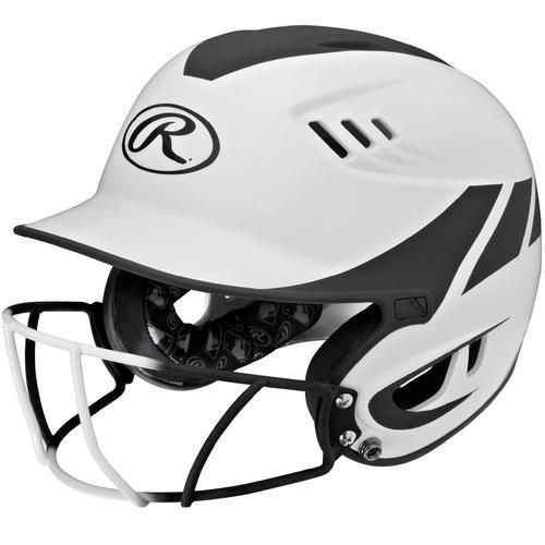 Rawlings Velo Junior 2-Tone Home Softball Helmet w/Mask-Blk