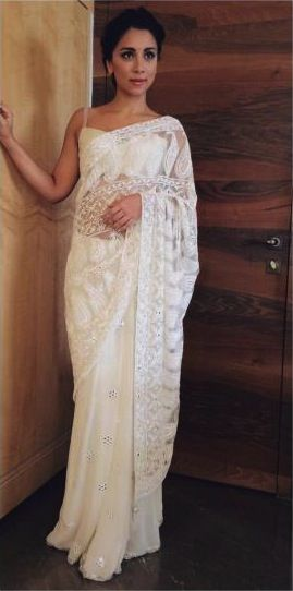I love white sarees...