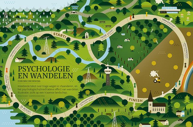 Wandelingetje iemand?    Flemish landscape illustration for a piece in Knack Black.
