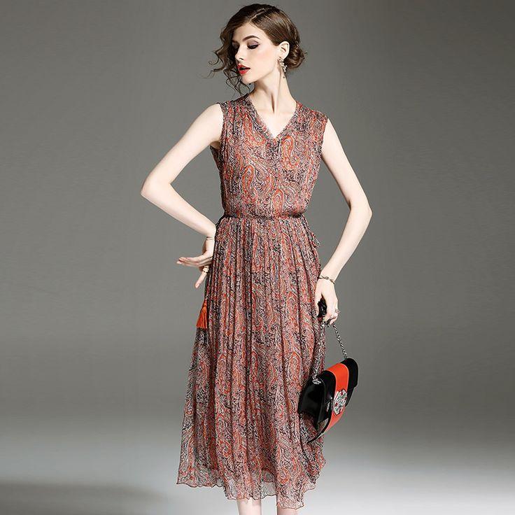 ==> [Free Shipping] Buy Best women bohemian summer dress plus size new 2017 european woman brief flower print sleeveless elastic waist A line beach dresses Online with LOWEST Price | 32814010476