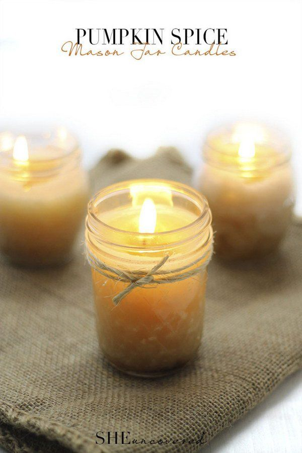 Pumpkin Spice Mason Jar Candles. Another fun homemade candle product for you to check out. This candle was made with pumpkin spice, which makes your home smell wonderful.